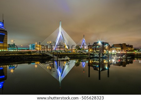 Boston Leonard P. Zakim Bunker Hill Memorial Bridge at night in Bunker Hill Massachusetts, USA.