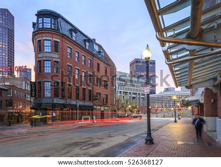 BOSTON, MA, USA - NOVEMBER 20: The historic buildings of Boston in Massachusetts, USA at Government Center at sunrise on November 22, 2016.