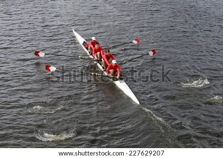 BOSTON - OCTOBER 19, 2014: Cornell Univerisity races in the Head of Charles Regatta Men's Championship Fours