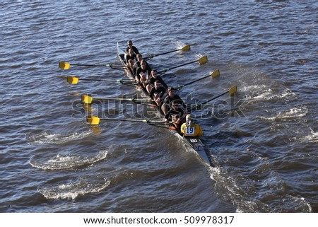 BOSTON - OCTOBER 22, 2016:  Georgia Tech  races in the Head of Charles Regatta Men's College Eights [PUBLIC RACE]