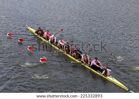 BOSTON - OCTOBER 19, 2014: Harvard University races in the Head of Charles Regatta Men's Championship Eights, Craftsbury Sculling Center won with a time of 14:20