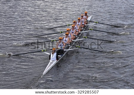 BOSTON - OCTOBER 18, 2015: Oakland Strokes races in the Head of Charles Regatta Women's Youth Eights