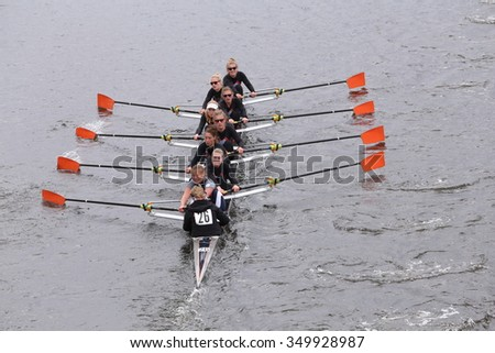 BOSTON - OCTOBER 18, 2015: ORCA races in the Head of Charles Regatta Women's Master Eights [PUBLIC RACE]