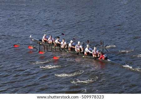 BOSTON - OCTOBER 22, 2016: St. Lawrence races in the Head of Charles Regatta Men's College Eights [PUBLIC RACE]