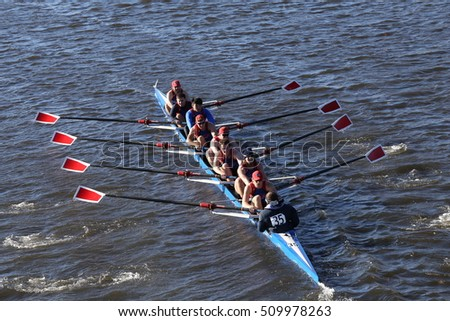 BOSTON - OCTOBER 22, 2016:   UMass - Lowell  races in the Head of Charles Regatta Men's College Eights [PUBLIC RACE]