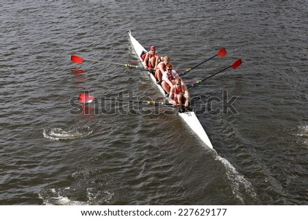 BOSTON - OCTOBER 19, 2014: University of Wisconsin races in the Head of Charles Regatta Men's Championship Fours
