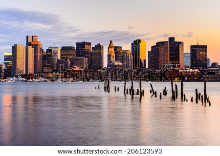 Boston Skyline at sunset viewed from East Boston