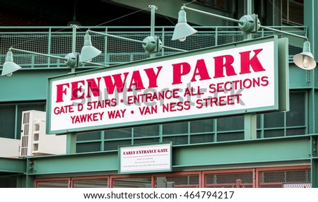 BOSTON, USA - AUGUST 5: The architecture of the historic Fenway Park Stadium in Boston, MA, USA showcasing one of its signs at the ticket booths on August 5, 2016.