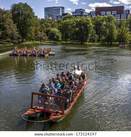 BOSTON, USA - JUNE 10: Locals and tourists enjoying a ride on the famous swan boats at the Boston Public Garden in Boston, Massachusetts, USA on a sunny summer day of June 10, 2013.
