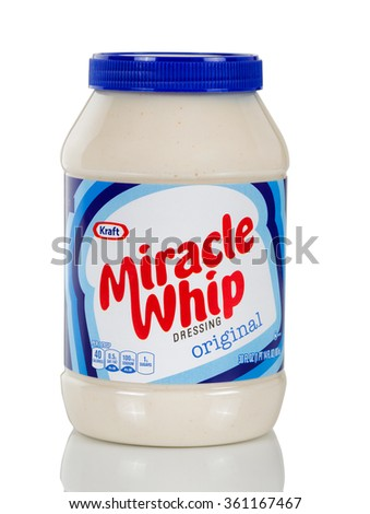BOTHELL, WA- January 10, 2016: Kraft Miracle Whip Dressing Original in plastic bottle isolated on white background with reflection.