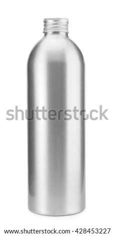 Bottle aluminum isolated on white background , water oil , clipping path