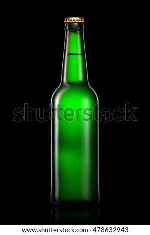 Bottle of beer or cider with clipping path isolated on black gradient background