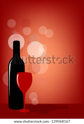 Bottle of wine and glass on red background. Raster version.