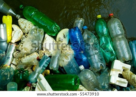 Bottles and trash in the river