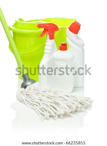 bottles mop and bucket isolated