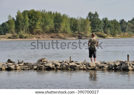 BOUCHEMAINE-FRANCE-AUGUST 02- 2015: fisherman in Loire