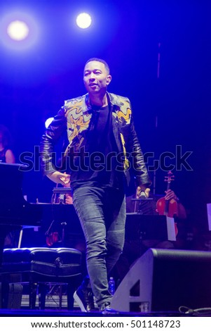 Bouckaert Farms, Chattahoochee Hills, Fairburn, Georgia, US - Oct 2,2016: John Legend at Many Rivers to Cross Music Festival.