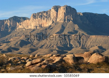 Boulders and El Capitan at sunset - Guadalupe Mountains National Park