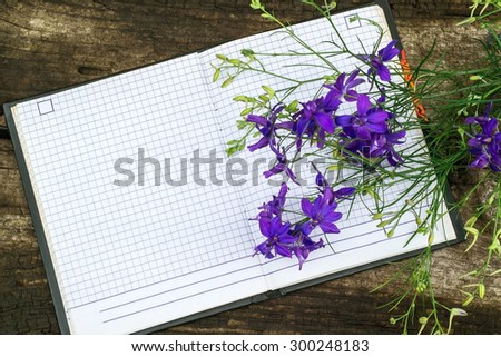 Bouquet of blue larkspur flowers and a notebook to record with free space for text. Good for holiday greetings