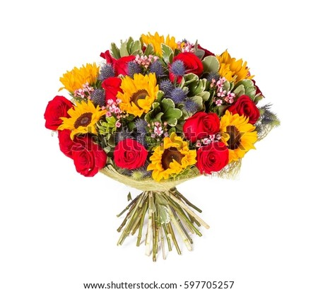 Yellow red flowers bouquet isolated on stock photo for Biggest bouquet of flowers