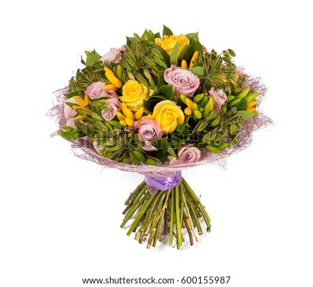 Bouquet flowers top view isolated on stock photo 308012444 for Biggest bouquet of flowers