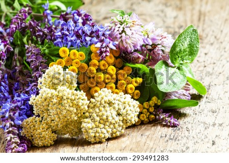 Bouquet of herbs and wild flowers on old wooden table in vintage style, selective focus