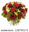 bouquet of red roses  and gerberas isolated on white - stock photo