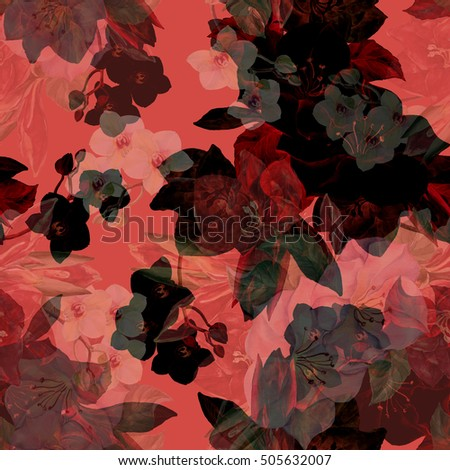 Bouquet with amaryllis watercolor seamless pattern