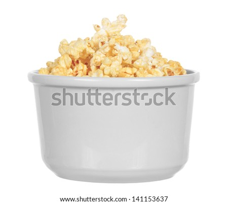 Bowl of buttery popcorn isolated on white background