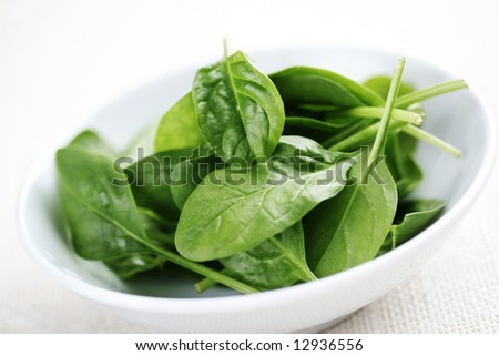bowl of fresh light baby spinach