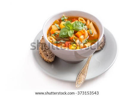 Bowl of Minestrone Soup with Pasta, Beans and Vegetables