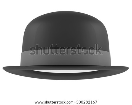 Bowler hat on a white background. 3D rendering