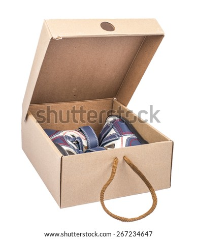 box with man's sandals isolated on a white background
