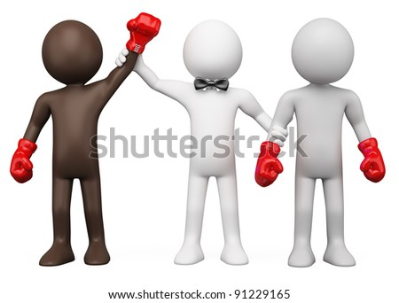 Boxing Referee choosing the winner between two boxers