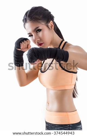 Boxing Woman - on white background