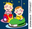 Boy and girl driving bumper cars having fun colliding - stock vector