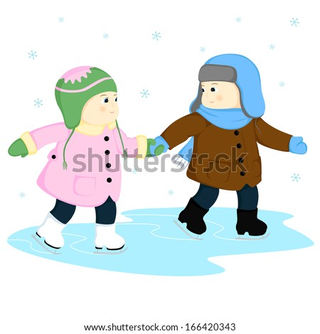 Boy skate greeting young skaters winter scene with skating boy