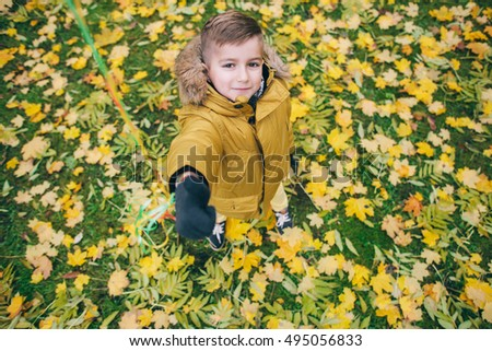 boy bright autumn in the park