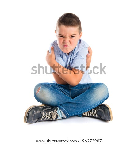 Boy furious over isolated white background