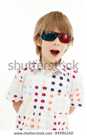 boy happy with 3d glasses isolated on white background