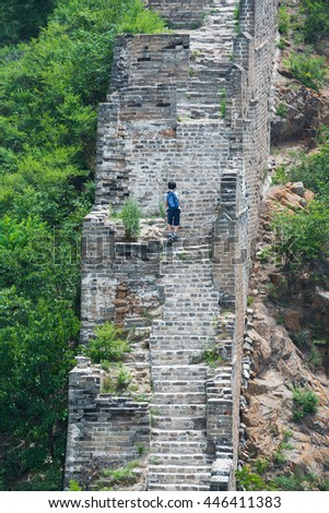 Boy hiking on the great wall
