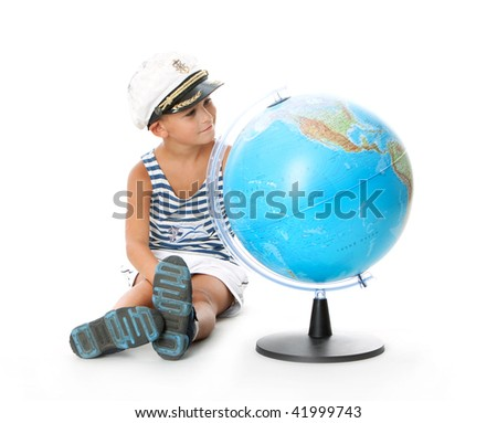Boy holding a globe  isolated on white background