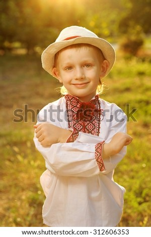Boy in Traditional Ukrainian Outfit