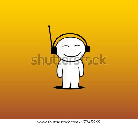 Boy of the white colour loving to listen music on yellow background