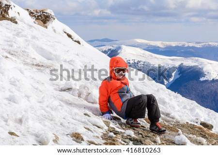 Adult Alpin Skier Beard Sunglasses Hat Stock Photo