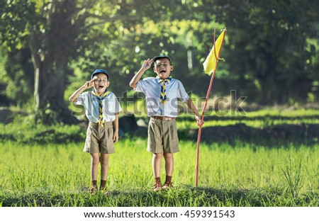 Boy scout making an oath