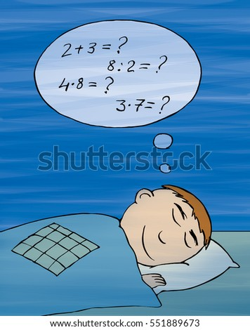 Boy sleeping on the bed with a pillow and draeaming about mathematics, cartoon