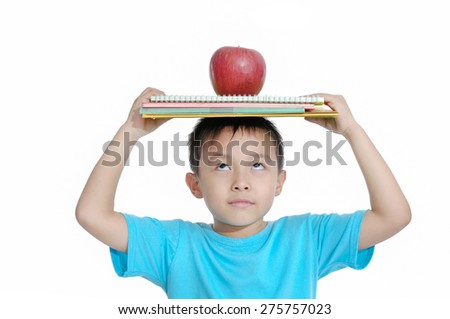 boy with apple and notebook isolated on white background