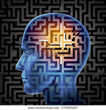 labyrinths and mazes associated to human intelligence Human intelligence puzzle represented by a blue glowing maze and labyrinth in the shape of a human head representing the concept and symbol of the complexity of brain thinking and thought patterns as a challenging problem to solve by medical doctors.