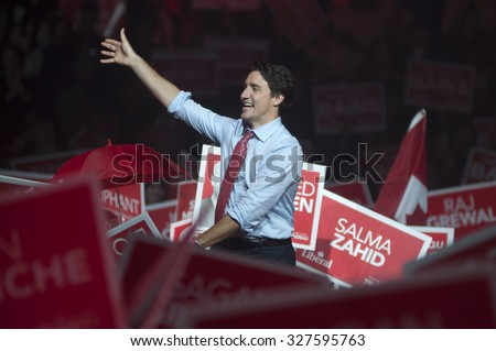 BRAMPTON - OCTOBER 4 : Justin Trudeau cheering his supporters during an election rally of the Liberal Party of Canada on October 4, 2015 in Brampton, Canada.